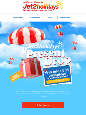 Jet2 (UK) - ✈ We're giving away 25 holidays this December