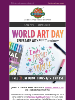 Artist & Craftsman Supply - Celebrate World Art Day with Tombow 4/15