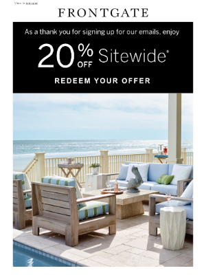 Frontgate - The world's best outdoor furniture is right this way. Plus, enjoy 20% off sitewide.