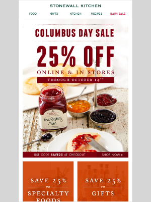 Our Columbus Day Sale is off-the-charts good!