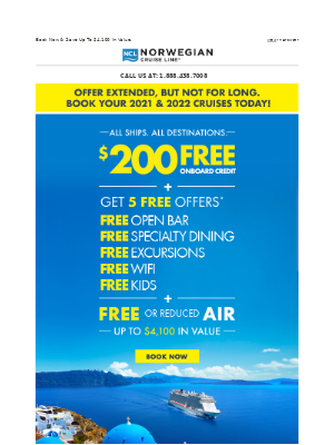You're In Luck! Offer Extended: Get $200 Onboard Credit + FREE Or Reduced Air & 5 FREE Offers.