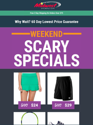 👻 Scary Specials 👻 Up To 75% Off Shoes, Racquets, & Apparel