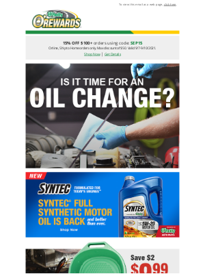 O'Reilly Auto Parts - If it's time for an oil change, we've got offers for you!