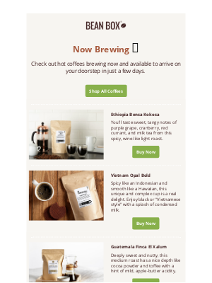 BeanBox - Hot Coffees: Check out what's brewing now!