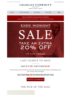 Last day to shop the sale - now with an extra 20% off