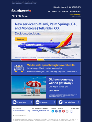 Southwest Airlines - Now selling Miami, Palm Springs, and Montrose (Telluride), CO!
