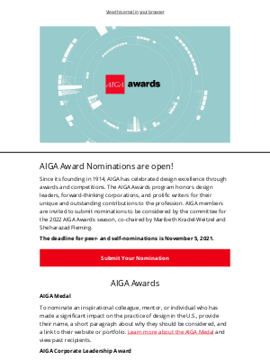 AIGA - Friends Nominate a Design Leader by November 5