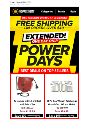 Northern Tool + Equipment - EXTENDED: One More Day to Get Free Shipping + Power Day Deals!