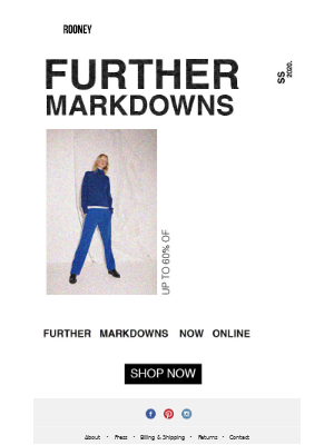 Spring/Summer 20 : Further Markdowns.