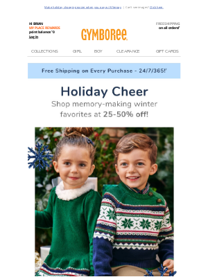 Gymboree - Soft, merry & bright. Holiday collections have arrived! Shop new styles at 25-50% off! 🎁🎄