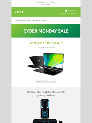 Acer - Cyber Monday Sale - Save Up to 45%!