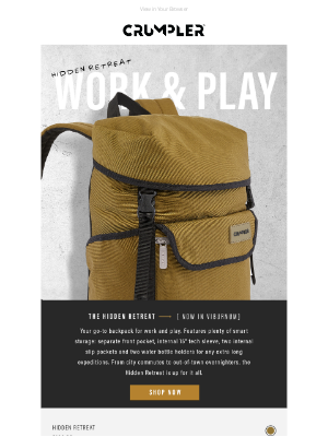 Crumpler - The Hidden Retreat Backpack | New Colour Drop