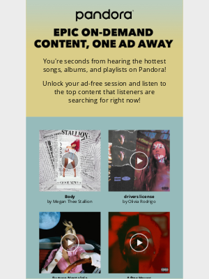 Pandora Radio - Epic on-demand content, one ad away!