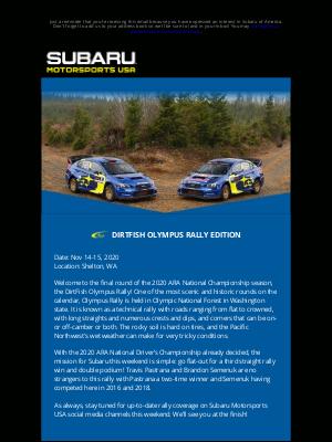 Subaru of America - MOTORSPORTS NEWS: DIRTFISH OLYMPUS RALLY