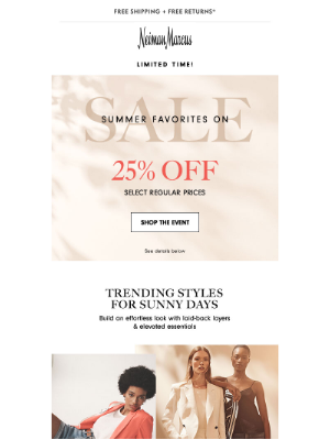 25% off top summer styles + newnames to Designer Sale