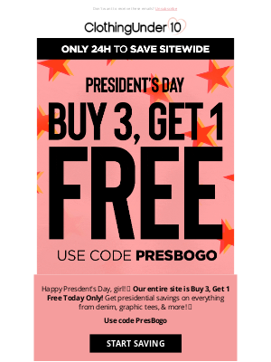 Buy 3 Get 1 Free 🥳 One Day Only