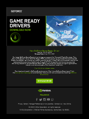 NVIDIA - NVIDIA GeForce Game Ready Driver for Microsoft Flight Simulator, Tony Hawk's Pro Skater, A Total War Saga: TROY and World of Warcraft Shadowlands Beta NOW AVAILABLE