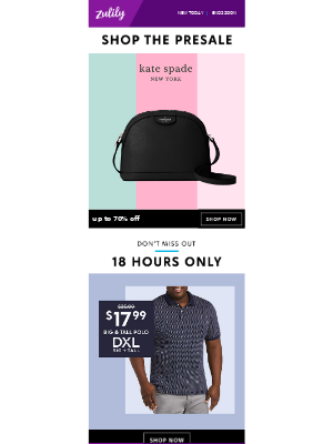 Kate Spade up to 70% off (first dibs) + $17.99 DXL polos