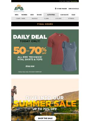 Eastern Mountain Sports - 🗣LAST CALL: 50-70% OFF ALL EMS Techwick Vital Shirts