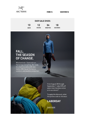 Arc'teryx - Select Items 25% Off: Now - Sep 7