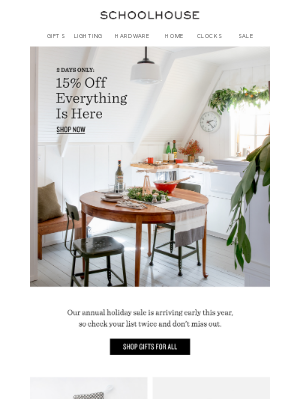 Schoolhouse Electric & Supply Co. - 2 Days Only: 15% Off EVERYTHING!