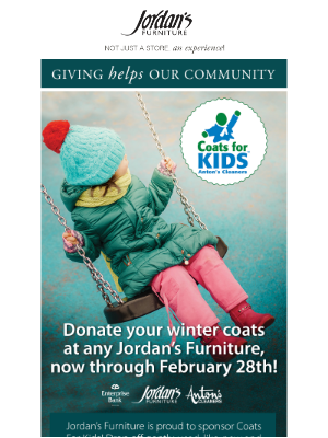 Jordan's Furniture - You can help kids & families stay warm this winter.