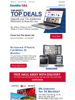 BrandsMart USA - Johnny Get First Look Deals + Weekly AD Inside