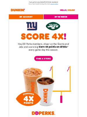 Dunkin' Donuts - Giants and Jets fans 🏈 — every game day is 4X Points Day 🙂