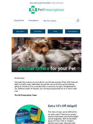Pet Prescription (UK) - francisco be the first to shop October offers! 👀