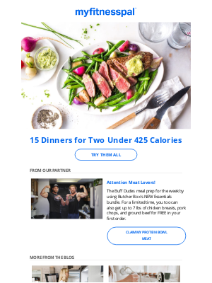 MyFitnessPal - 15 Dinners for Two Under 425 Calories