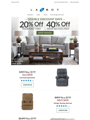 DOUBLE Your DISCOUNT from 20% to 40% OFF!