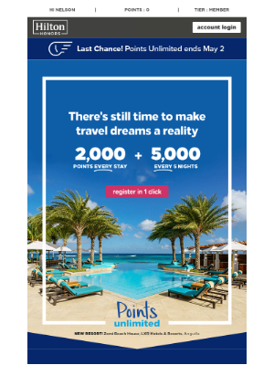 Hilton Hotels & Resorts - It's not too late to earn a dream vacation.