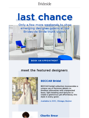 Brideside - 📣 Ending Soon: Emerging Designer Trunk Shows