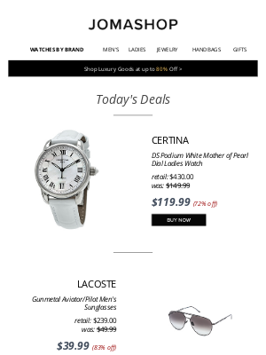 Jomashop - 📫 FOR YOU–24 HRS ONLY: Corum Admiral's Cup Auto 71% off | Certina MOP Watch $120 | Lacoste Sunglasses $40 | Ferragamo Belt $290