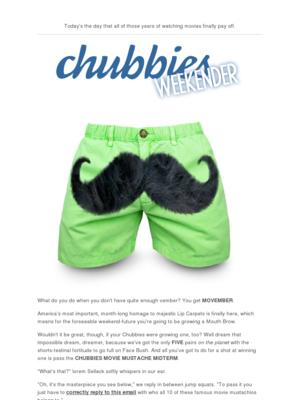 Chubbies - Hello, Mind-Melting Movie Mustache Midterm