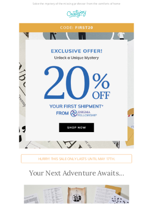 Cratejoy - Limited Time Only! Get 20% OFF This Mystery Adventure Box