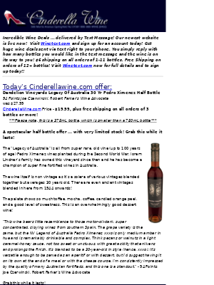 Dandelion Vineyards Legacy Of Australia 30 Yr Pedro Ximenez Half Bottle (94 WA) Free Ship on 3