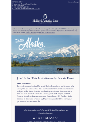 Holland America Line - Save The Date: You're invited to the virtual We Are Alaska event