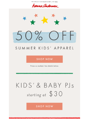 Ends tomorrow! 50% off kids' apparel
