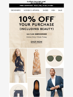 Take 10% off your purchase (including beauty)