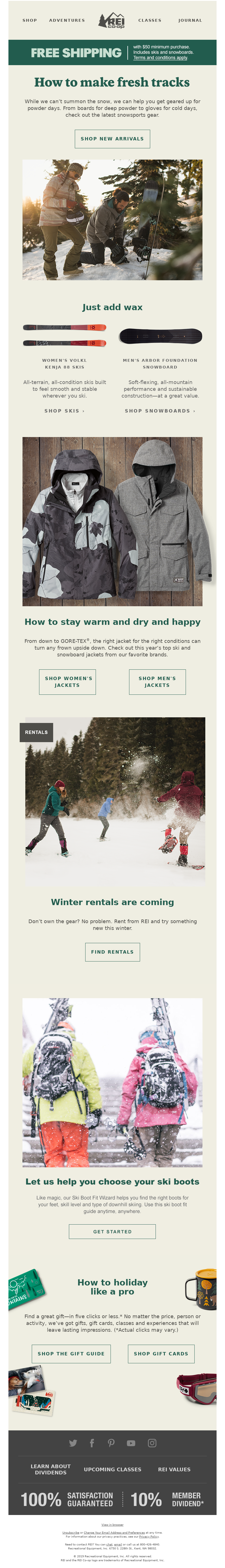 REI co-op FREE SHIPPING with $50 minimum purchase. Includes skis and snowbo