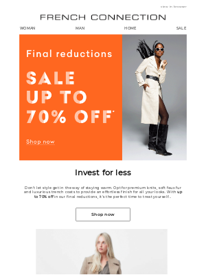 French Connection (UK) - Up to 70% off luxe layers