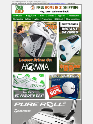 Rock Bottom Golf - Lowest Prices On HONMA, Electronics INSTANT SAVINGS + TONS MORE!