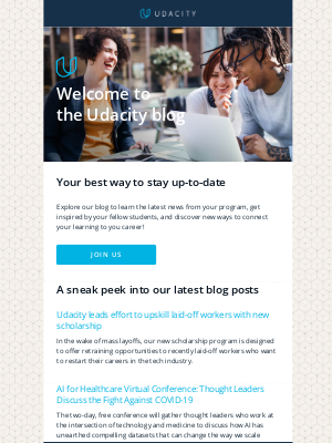 Get inspired by other online learners and stay connected to the latest Udacity news with our Blog!