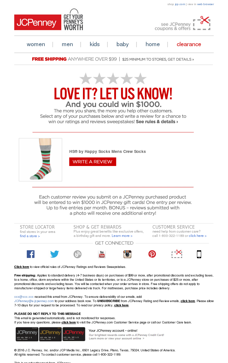 JCPenney - Tell Us About Your Recent jcp.com Purchase and Win!