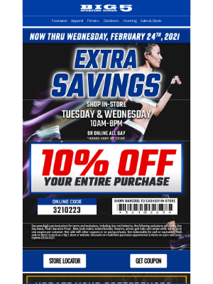Big 5 Sporting Goods - Take 10% Off Now Thru Wednesday!