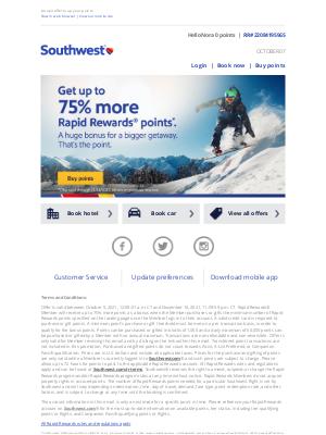 Southwest Airlines - Nora, get up to a 65% bonus on Rapid Rewards points.