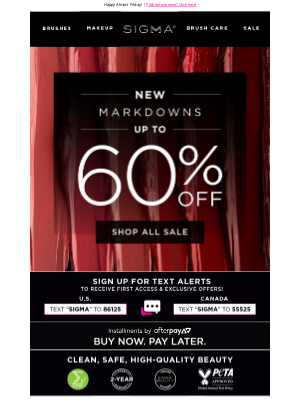 Sigma Beauty - NEW Markdowns! Up to 60% off!