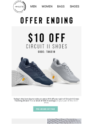 HYLETE LLC - Ending: Extra $10 Off Shoes