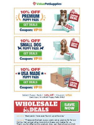 ValuePetSupplies - Puppy Pads Coupon - 10% Off